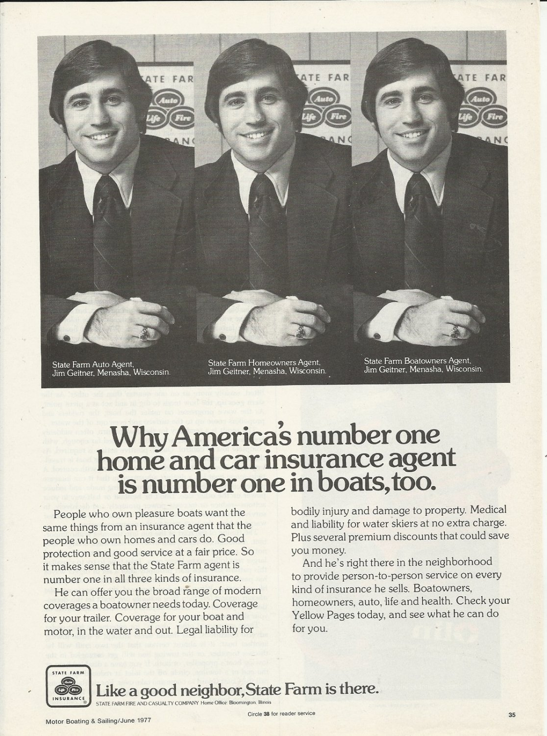 1977 State Farm Insurance Ad- Agent Jim Geitner