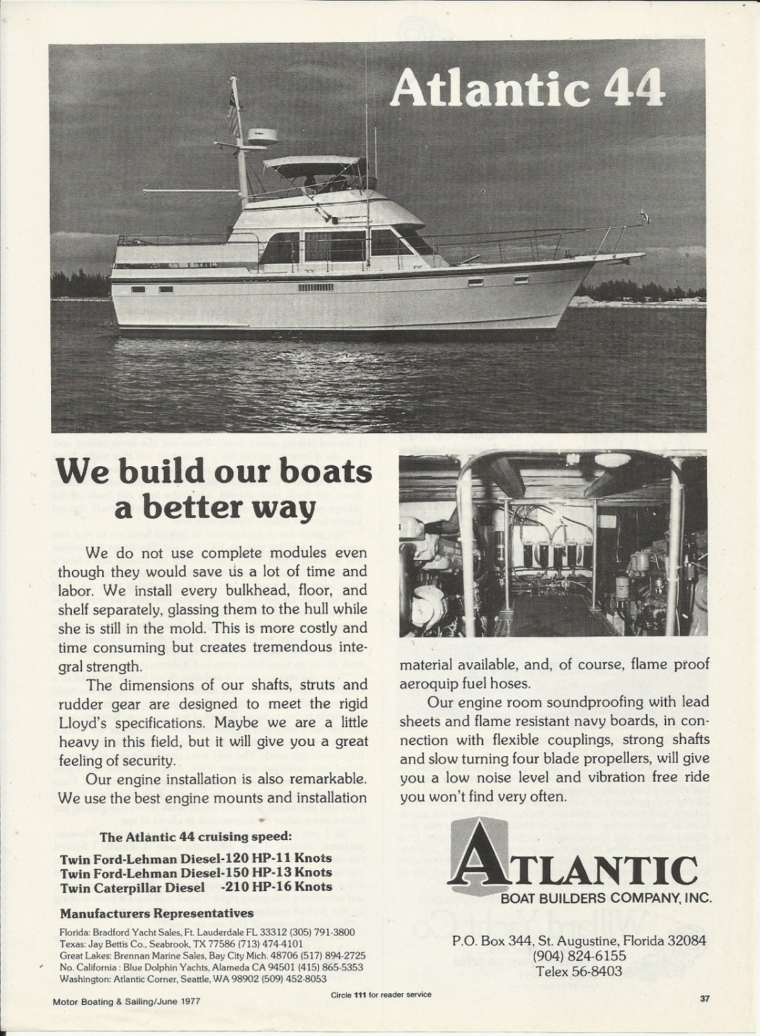 1977 Atlantic Boat Builders Co Ad- The Atlantic 44