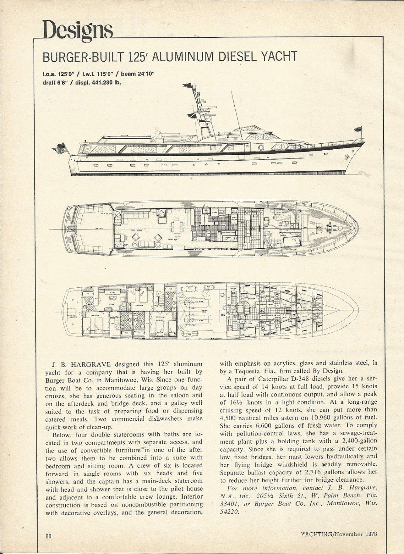 1978 J B Hargrave Burger- Built 125' Diesel Yacht Review & Specs