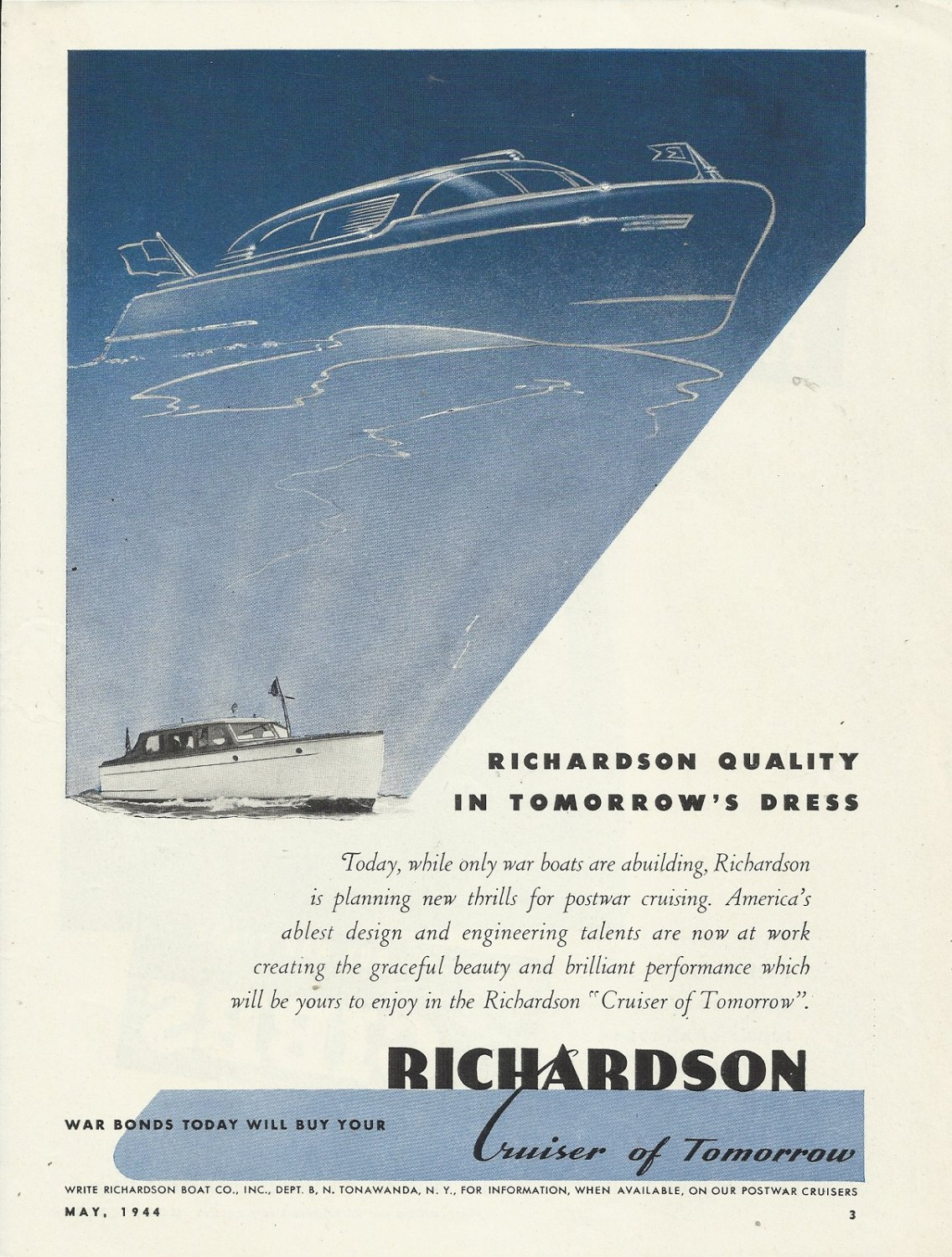 1944 Richardson Boat Company Ad-The Pleasure Cruiser