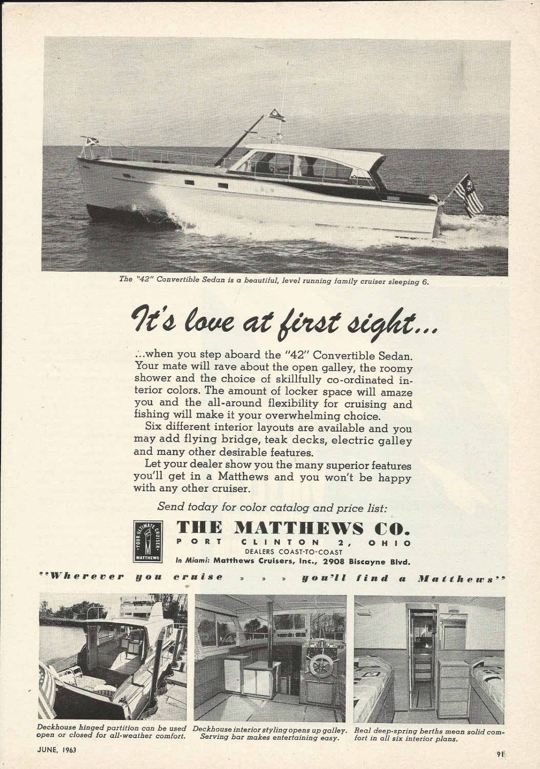 1963 Matthews Yacht Company Ad- The 42' Convertible