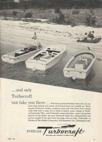 1961 Buehler Turbocraft Ad- Turbocraft Jet Boats