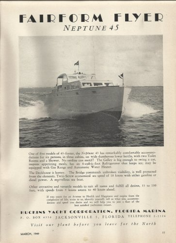 1949 Huckins Yacht Corp Ad- The Neptune 45