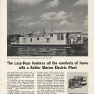 1962 Kohler Of Kohler Ad Featuring 50' Lazy- Days Houseboat