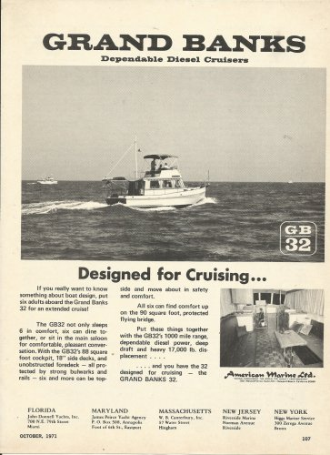 1971 American Marine LTD Ad- Grand Banks 32 Diesel Cruiser