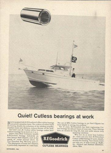 1962 B F Goodrich Cutless Bearings Ad- Inland Sea Boat Co 36' Cruiser