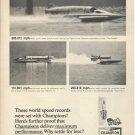 1967 Champion Spark Plug Ad- 3 Hydroplane Boats- Nice Photos