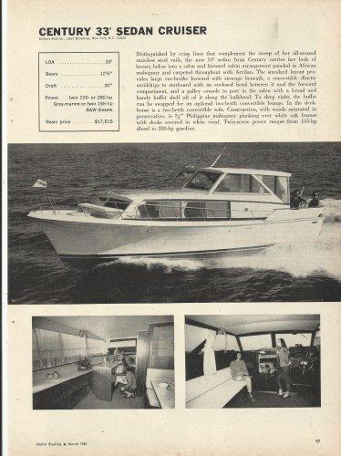 1965 Century Boat Company Ad- The 33' Sedan Cruiser- Specs-Photos