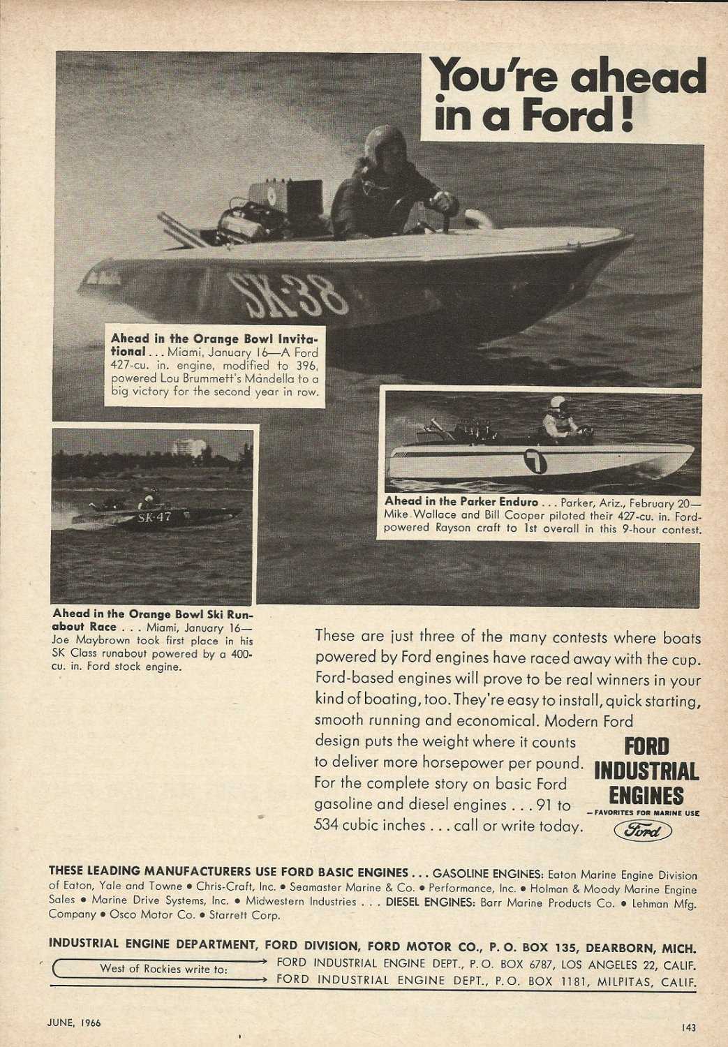 1966 Ford Marine Engines Ad- 3 Racing Boats
