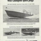1966 Champion Spark Plugs Ad- Daytona TX-41  Record Setting Boat