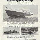 1966 Champion Spark Plugs Ad- Daytona TX-41  Record Setting Boat