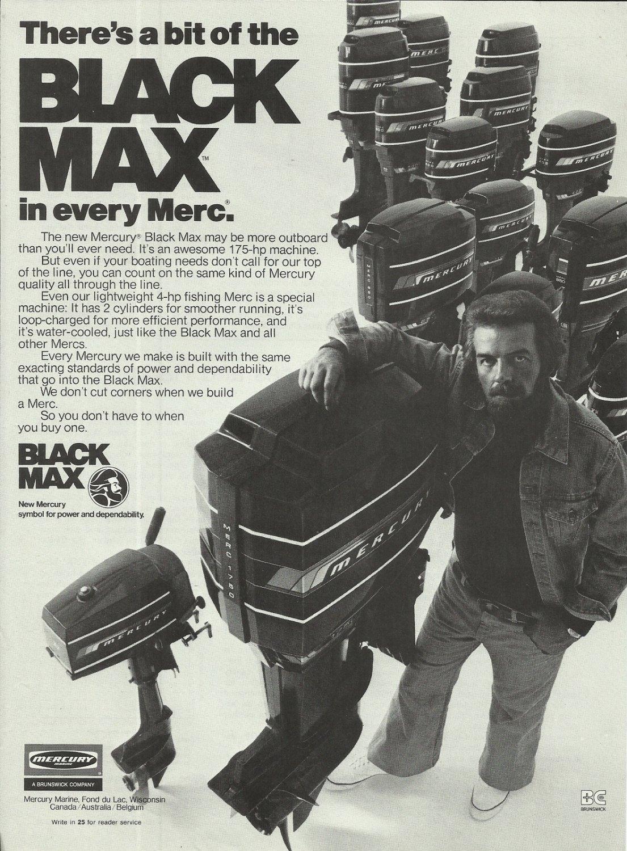1976 Mercury Marine Ad Black Max Outboard Motors