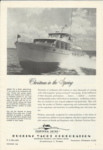 1960 Huckins Yacht Corp. Ad- The Fairform Flyer