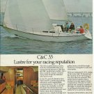 1975 C & C Yachts Color Ad- The C & C 33