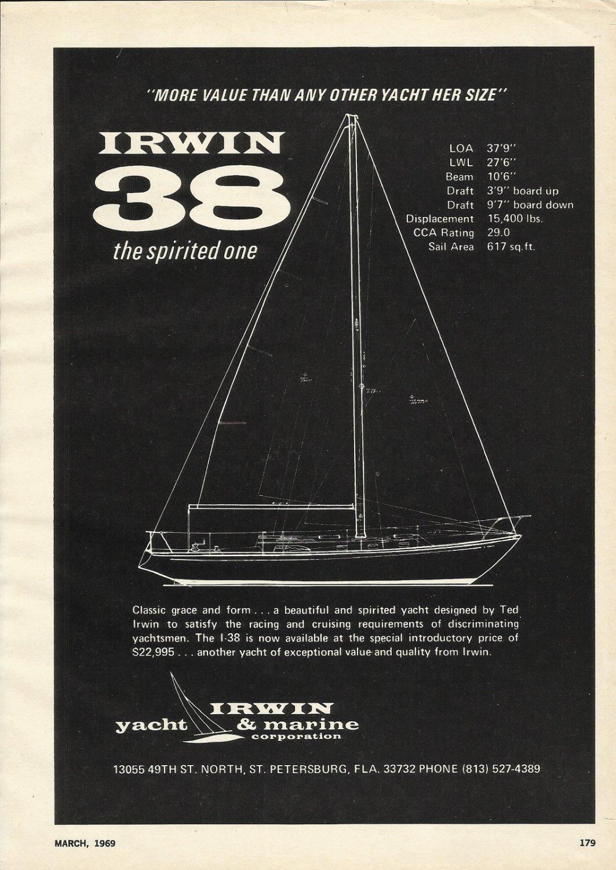 1969 Irwin Yacht & Marine Corp  Ad- Irwin 38 Sailboat- Specs