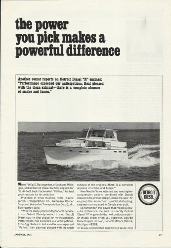 "1965 Detroit Diesel Marine Engines Ad- Pacemaker 44' Yacht ""Pattay"""