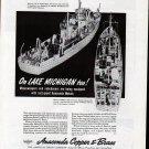 1943 WW II Anaconda Copper & Brass Ad- Burger Minesweeper & Subchaser