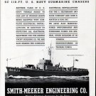 1942 WW II Smith- Meeker Engineering Co Ad- Trumpy Subchaser SC635-Nice Photo