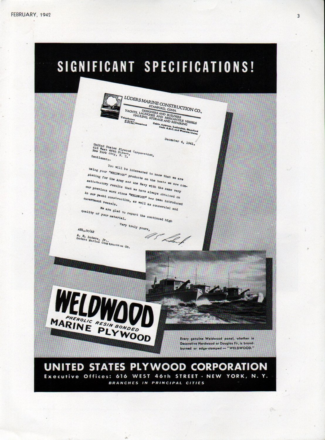 Ww ii u s plywood corp ad luders war boats