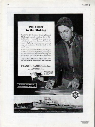 1943 WW II Frank L Sample JR. Shipbuilding Ad- Minesweeper YMS-226