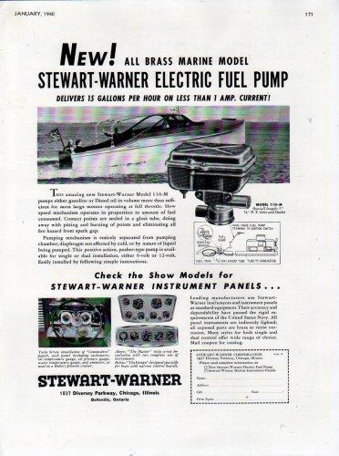 1940 Stewart- Warner Corp Ad- Boat Electric Fuel Pump Model 110-M