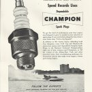 1951 Champion Spark Plugs Ad- Nice Photo Of Hydroplane