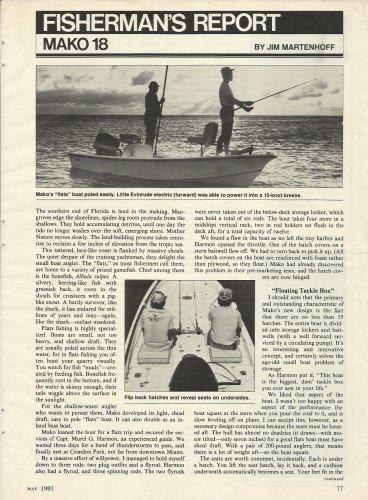 1981 Mako Marine Mako 18' Boat review & Specs- Photo