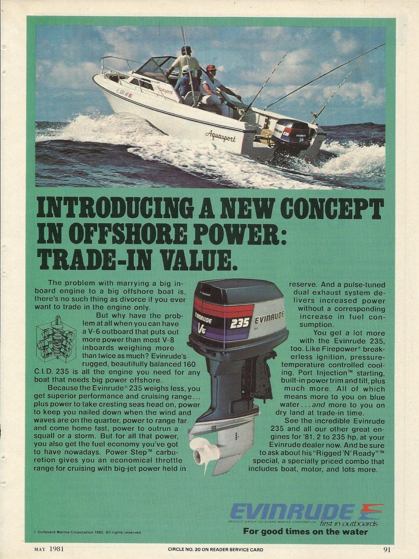 1981 Evinrude Outboards Color Ad The V6 225 HP Outboard Motor Aquasport Boat