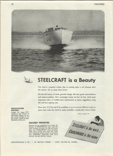 1945 Churchward & Co Ad- Steelcraft 26' Cruiser- Specs