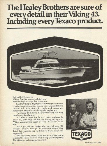 1980 Texaco Marine Ad Featuring Viking 43 Yacht- Bob & Bill Healey