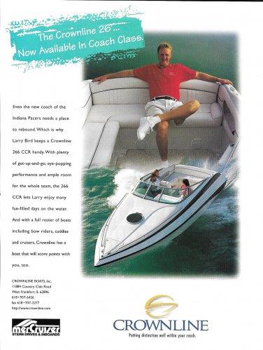 1998 Crownline Boats Color Ad- Larry Bird & His Crownline 266 CCR