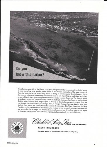 1962 Chubb & Son Insurance Ad-Great Aerial Photo of Nassau Bahamas