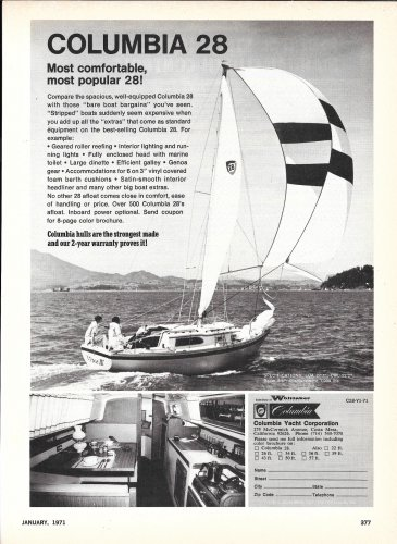 1971 Columbia Yacht Corp. Ad- The Columbia 28