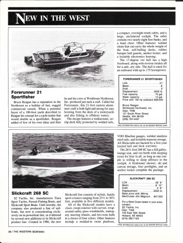 1988 Forerunner 21 Sportfisher & Slickcraft 268 SC New Boats Reviews & Specs-Photos