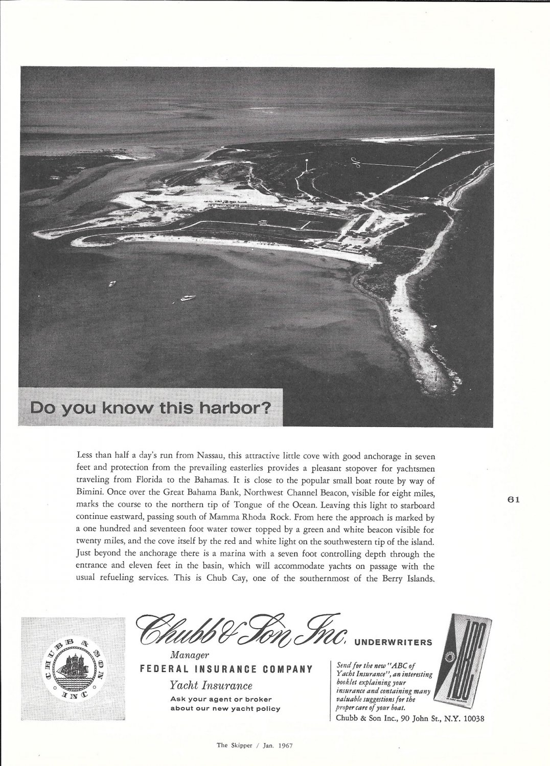 1967 Chubb Insurance Ad-Great Photo of Chub Cay Berry Islands