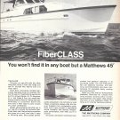 1970 Matthews Yacht Company Ad- Nice Photo of Matthews 45'