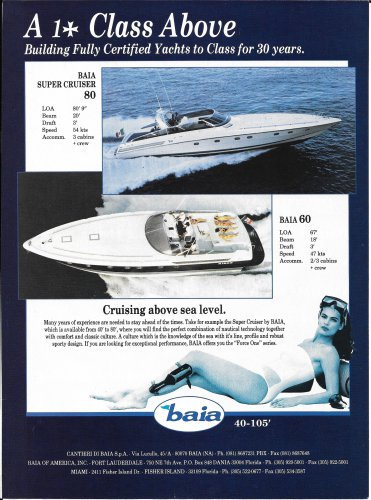 1993 Baia Boats Color Ad- Nice Photo of 80' & 60'-Hot Girl-Specs