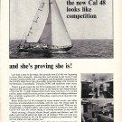 1966 Jensen Marine Corp Ad- Nice Photo of Cal 48 Sailboat