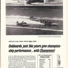 1966 Champion Spark Plugs Ad- Nice Photos of Hydroplanes Racing