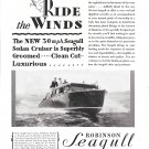 1929 Robinson Marine Construction Co Ad-Great Photo of Robinson Seagull Boat