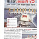 1960 Johnson Super Sea- Horse V-75 Outboard Motor Color Ad-Nice Photo Girl Skiers