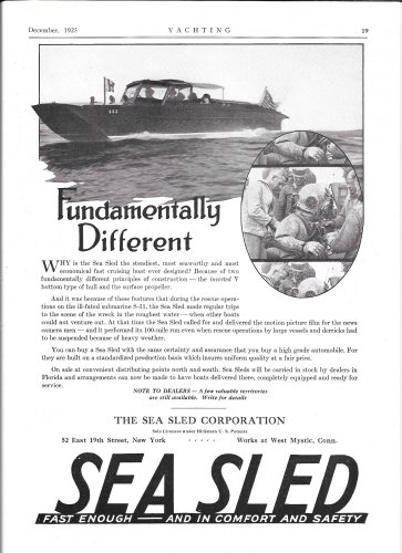 1925 Sea Sled Boats Ad- Great Photo