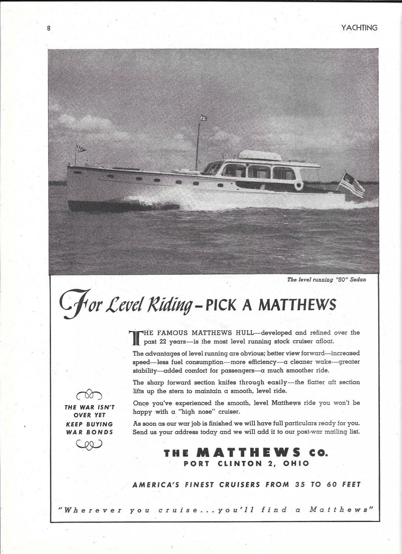 1944 Matthews 50' Sedan Yacht Ad- Nice Photo