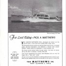 1944 Matthews 50' Sedan Yacht Ad- Nice Photo