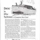 1945 Owens Yacht Company Ad- Nice Photo 30' Cruiser
