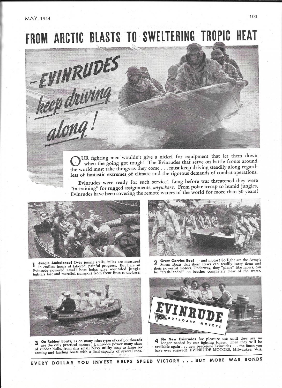 1944 WW II Evinrude Outboard Motors Ad- Nice Photos Storm Boats