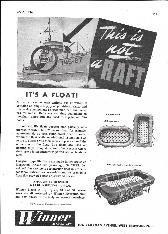 1944 WW II Winner Life Floats Ad- Nice Photo Minesweeper YMS-27