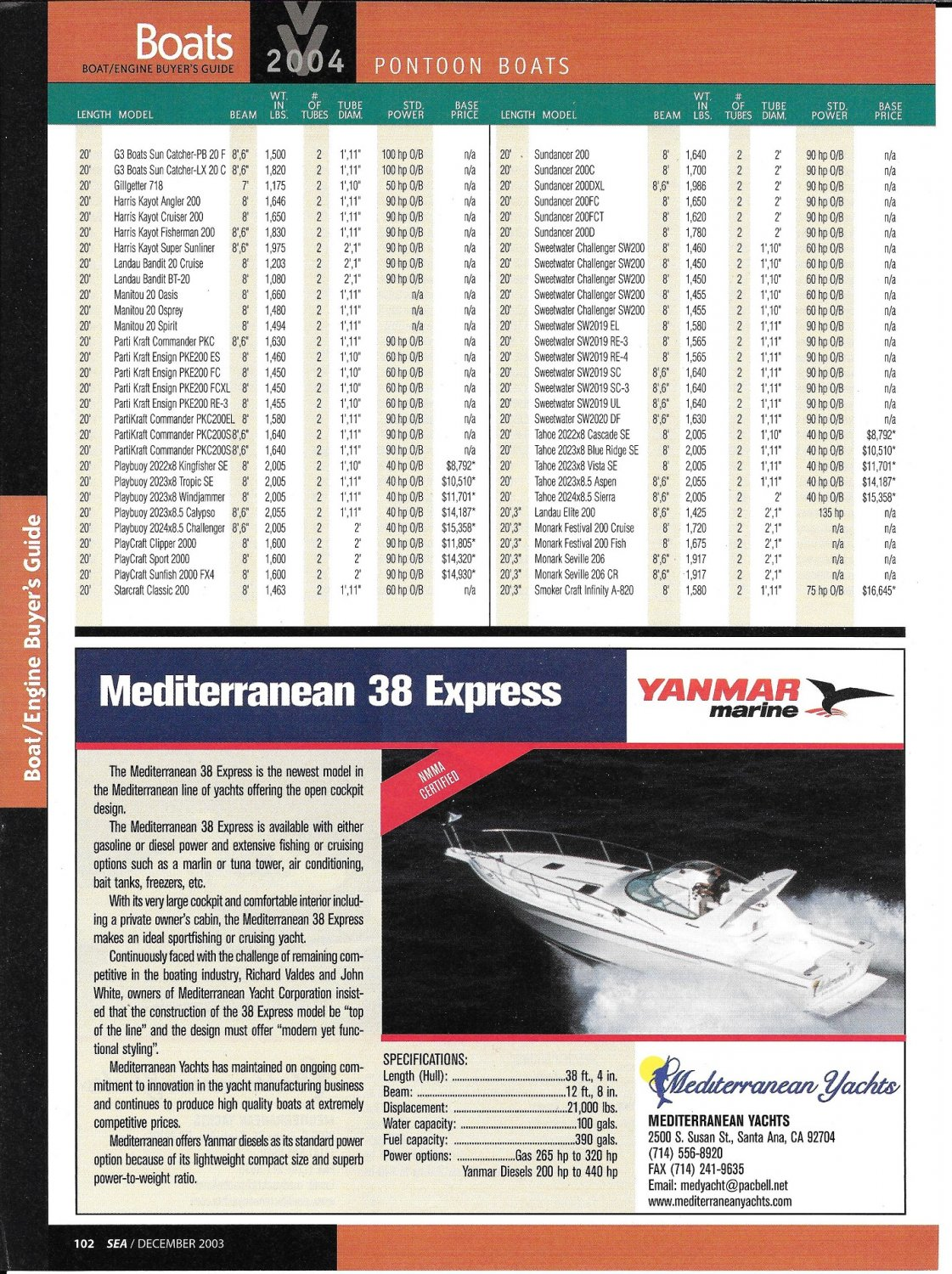 2004 Mediterranean 38 Express Yacht Review & Specs- Nice Photo