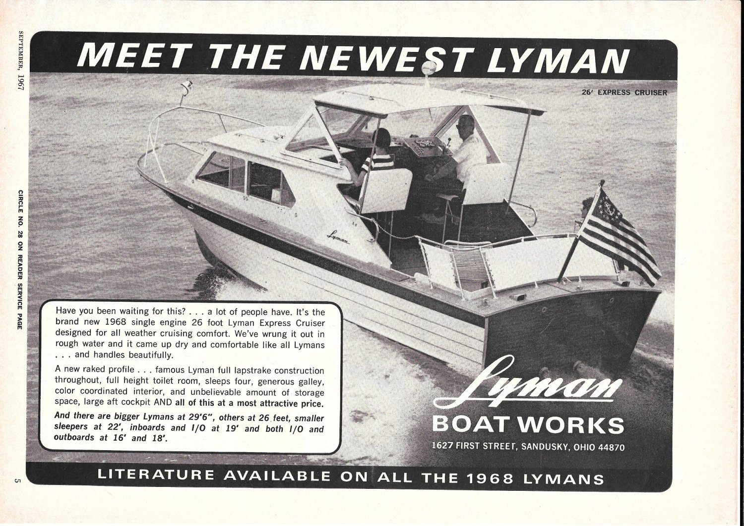 1967 Lyman Boat Works Ad- Great Photo 26' Express Cruiser