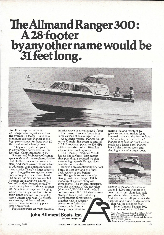1967 John Allmand Ranger 300 Yacht Ad- Nice Photo